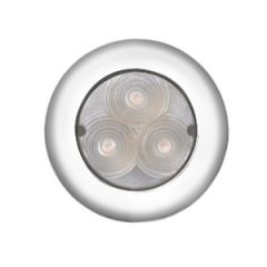 LED Ceiling Light White Round Plastic w/Stainless Steel Rim 3 LED 12V