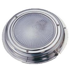 Dome Light White Round Stainless Steel w/Switch 5""
