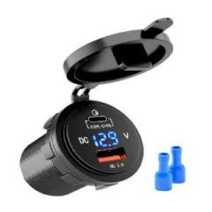 Dual Port USB/QC 3 12-24V w/Voltmeter