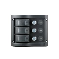 Switch Panel Black Waterproof 3 Switches LED Lights 12V DC