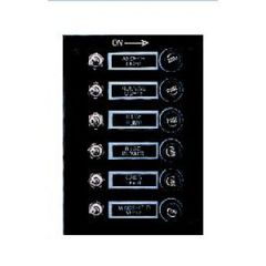 Switch Panel Black Splashproof 6 Switches Toggle 12V DC