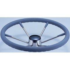 "Steering Wheel Stainless Steel w/Grey Sleeve Six Spoke 13 1/2"""