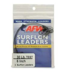 "Surflon Leader 30 lb 6"" Stainless Steel 3-Pack"