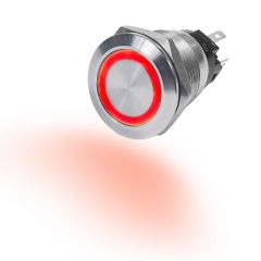 Switch Button Off-On, Stainless Steel 10A Red