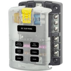 ST Blade 6 Circuit Fuse Block w/Negative Bus & Cover 30A