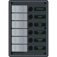 Waterproof Panel 6 Position Slate Grey 12V/24V