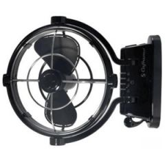 Sirocco Three Speed Fan w/4 Preset Timer Settings Black 24V