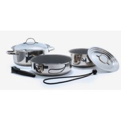 7-Piece Nesting Stainless Steel Cookware w/Ceramic Lining