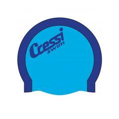 Cressi Adult Bi-Color Silicone Swim Cap - Blue/Light Blue