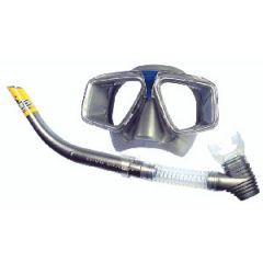 Mask & Snorkel Hawaii Combo w/Clear Silicone Mouthpiece & Skirt Silver