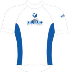 Rash Top Lycra Short Sleeve Adult White/Blue LRG