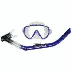 Mask & Snorkel Explorer MD Combo w/PVC Mouthpiece Aqua