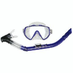 Mask & Snorkel Explorer MD Combo w/PVC Mouthpiece Transparent Blue