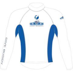 Rash Top Lycra Long Sleeve Adult White/Blue XSML