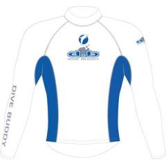 Rash Top Lycra Long Sleeve Adult White/Blue 2XLRG
