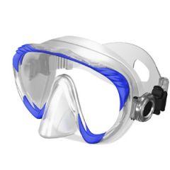Frameless Mask Single Lens & Clear Silicone Skirt w/o Frame Blue