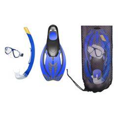 ABC Mask, Snorkel & Fins Combo Adult w/Gear Bag Blue MED/LRG