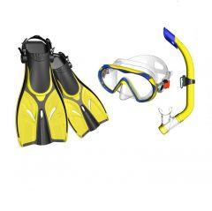 Mask, Snorkel & Fins Combo Junior w/Gear Bag Yel/Blue SML/MED
