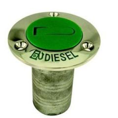 Diesel Deck Fill w/Green Nylon Cap 316 Stainless Steel 1.5""
