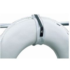 "Ring Buoy Holder, White Coated Aluminum, Fits up to 30"" Buoy"