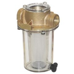 "Water Strainer, Bronze w/Plastic Filter Basket 1 1/4"""