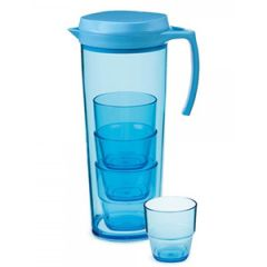 Blue Pitcher w/Locking Lid and 4 Blue Stacking Tumblers