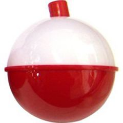 "Snap On Fishing Floats Plastic Round Red & White 1 3/4"" 2/pk"