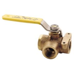 3-Way Diverter Valve w/Mounting Pads Bronze 1 1/4""