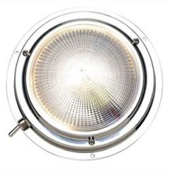 Dome Light Bright White Round Stainless Steel w/Switch 5""