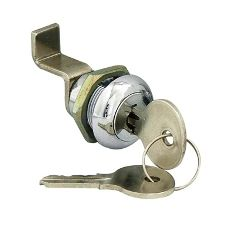 Cam Lock w/2 Keys Chrome Plated Steel 1 1/8""