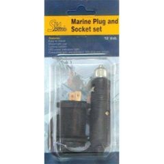 Cigarette Plug & Socket Watertight w/LED Indicator Light 12V