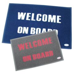 Welcome Mat Blue w/Gold Letters Anti Slip 40 cm x 60 cm
