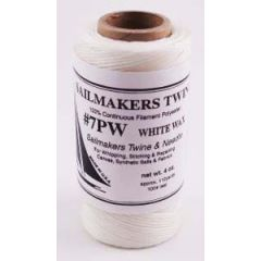 Sailmaker's Twine Round Waxed White w/Needle 500 ft