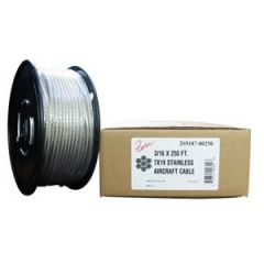 "Aircraft Cable 3/16"" X 250' 7 X 19 Stainless Steel 304"