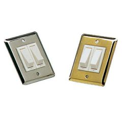 "Rocker Switch Double w/Brass Wall Plate 2"" x 2.5"""