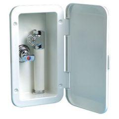 Deck Shower Box w/Hot & Cold Mixer Bulkhead Mount White Hose 4 m