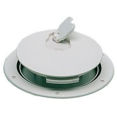"Deck Plate Non Skid Surface Watertight Round White 10"""