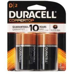 Alkaline Coppertop Batteries D-Cell 2/pk