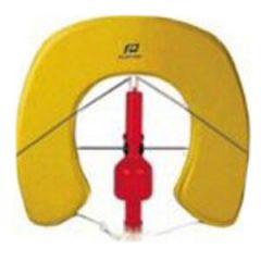 Horseshoe Buoy w/ Fixed SOLAS Light & Stainless Steel Bracket Yellow