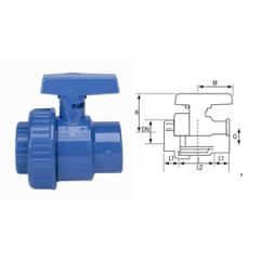 "1"" Ball Valve, Blue Plastic"