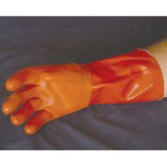 PVC Glove Double Thick Orange LG