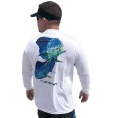 SPF50 Shirt Mahi on White, Men's Large