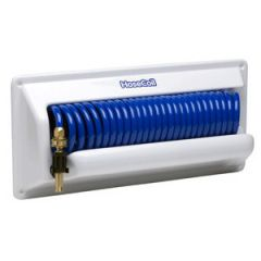 Hose Self Coiling Flex Relief w/PVC Mounting Case Blue 25 ft