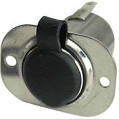 12v Stainless Steel Socket w/Black Cap