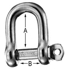 D Shackle w/Self Locking Pin 316 Stainless Steel 12 mm