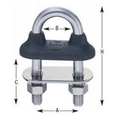 U-Bolt Watertight w/Black Rubber Collar 316 Stainless Steel 12 mm